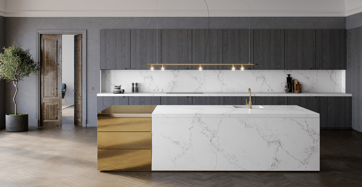Caesarstone gold and marble luxury kitchen