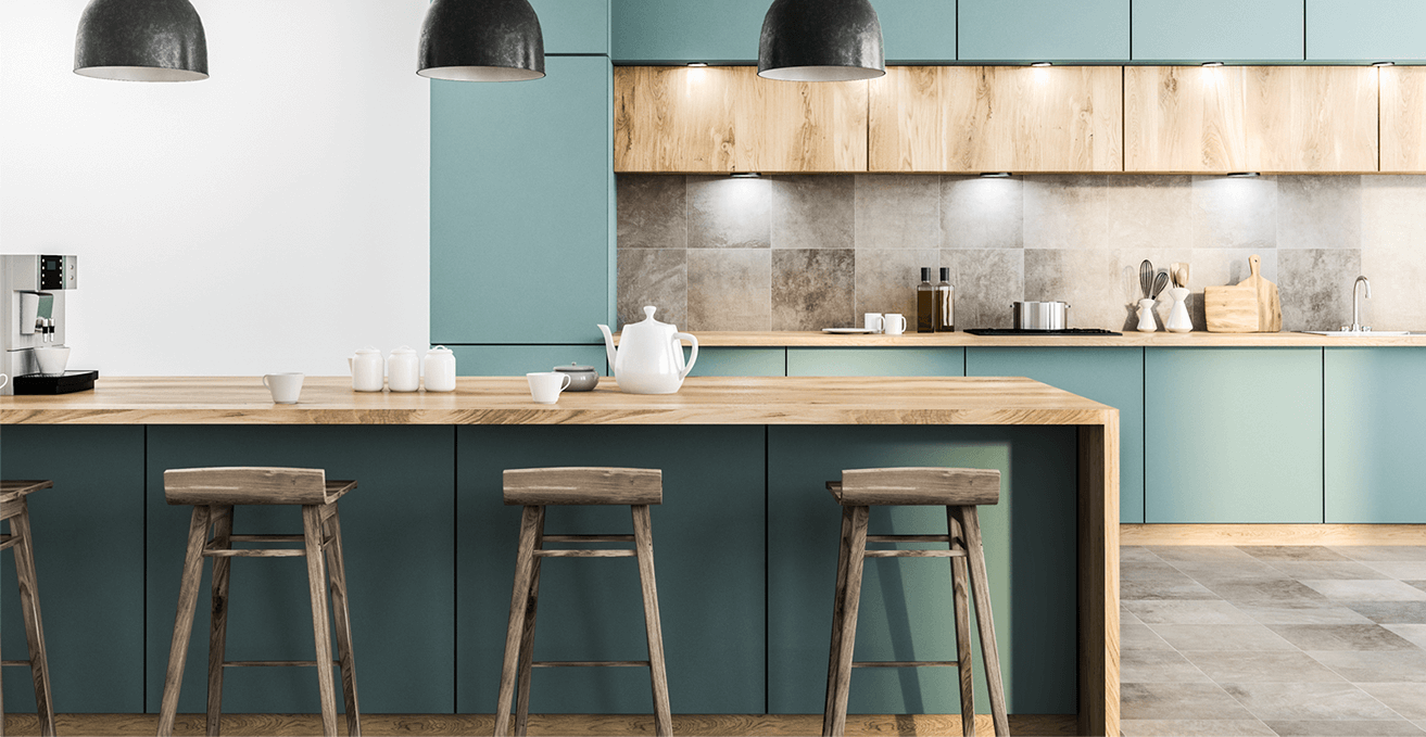 Render of emerald and timber kitchen