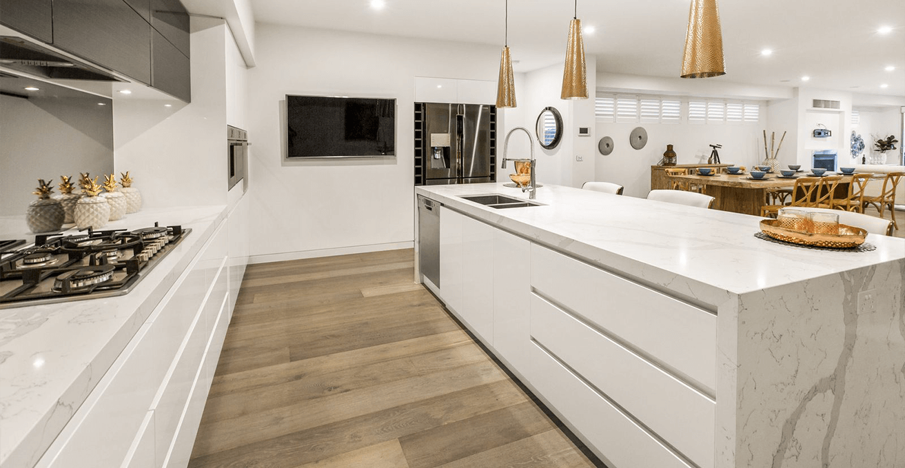 Bay Kitchens - white island and marble bench