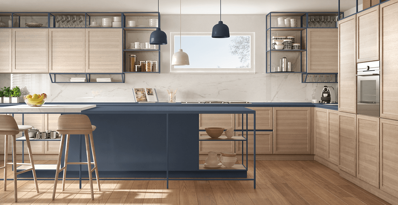 Render of navy and oak kitchen