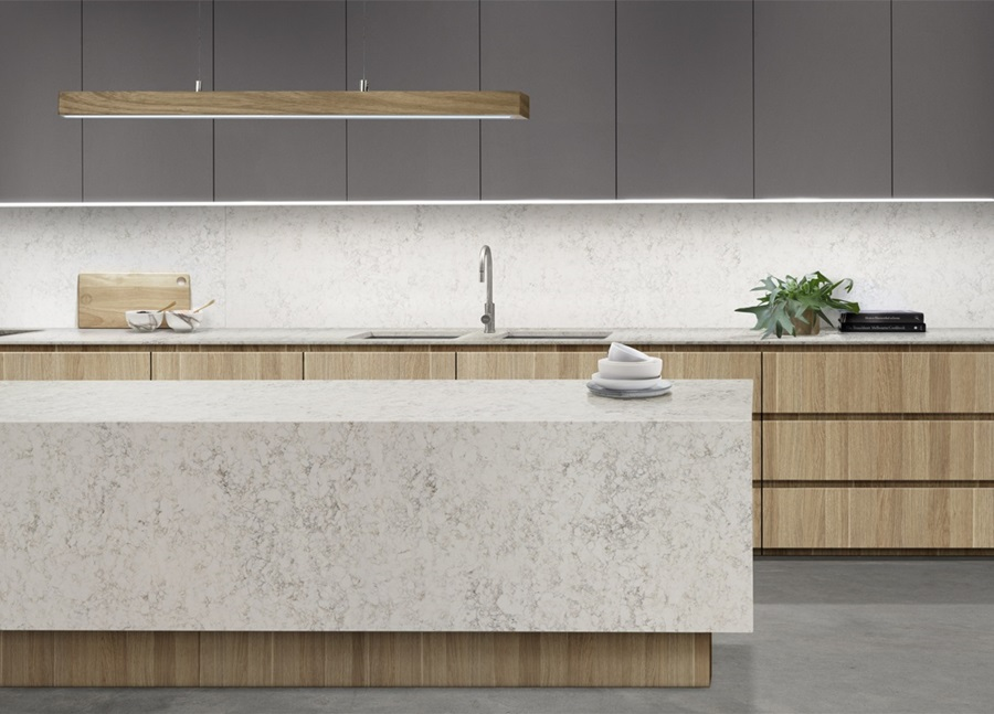 Stone benchtops Laminex and Essastone modern marble and timber kitchen